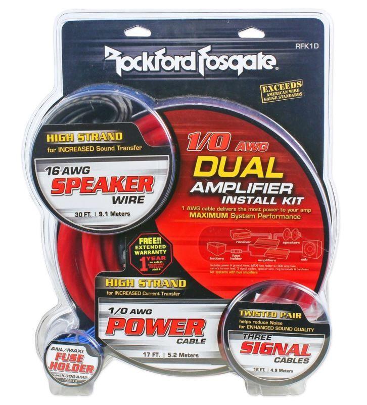 Rockford Fosgate Rfk1d 1 0 Gauge Dual Amplifier Amp Ofc Wiring Wire Install Kit Car Amplifier Rockford Fosgate Rockford