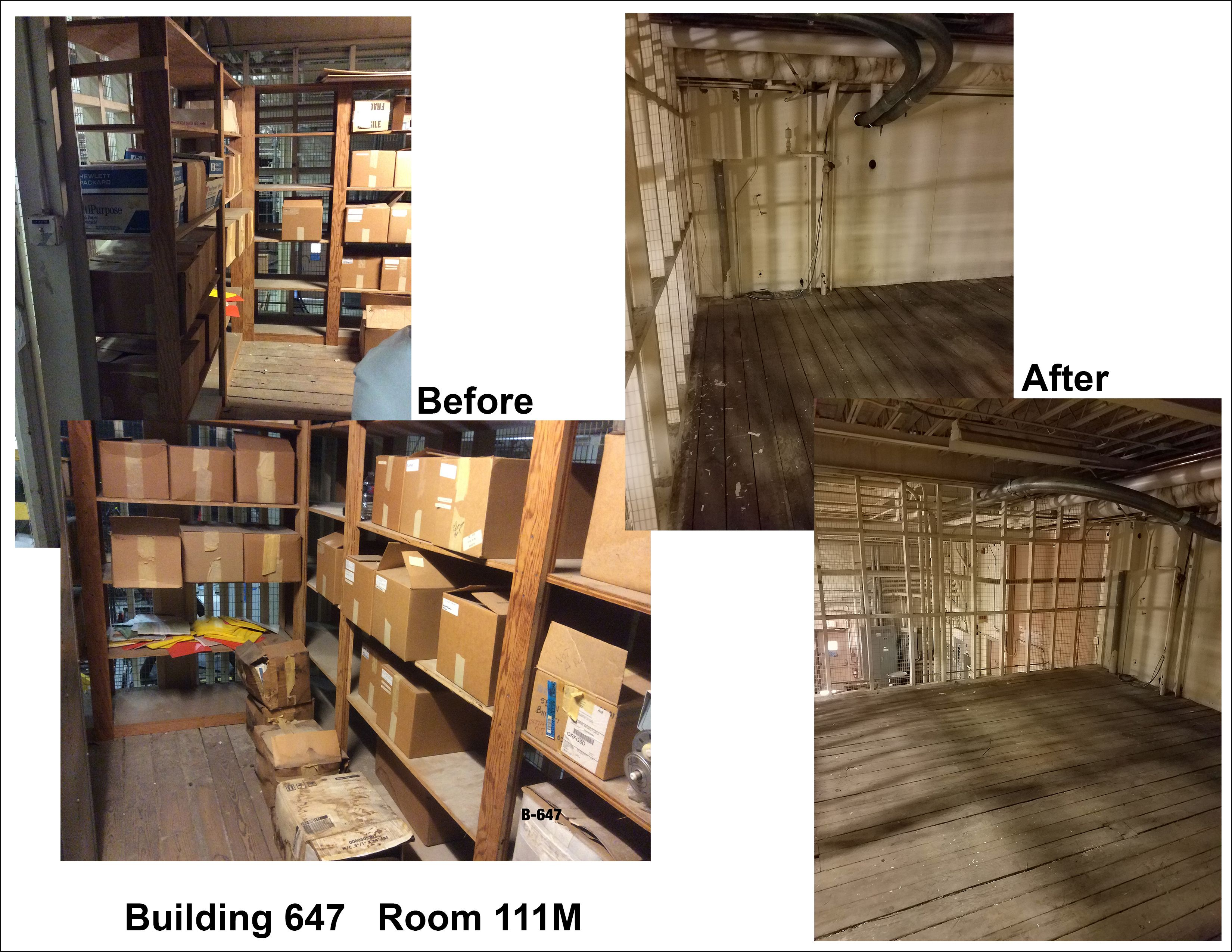 This collage of photos shows how the Records Management Initiative helped to free up storage space.