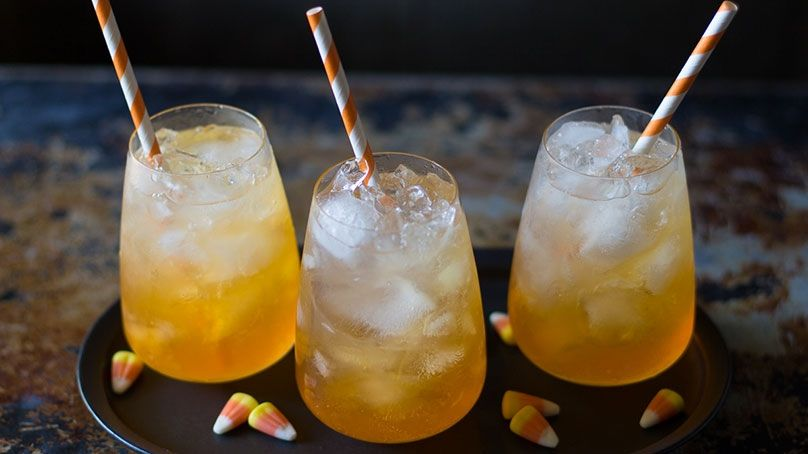This super simple drink takes mere minutes to make and is a fun twist on a classic Halloween candy.