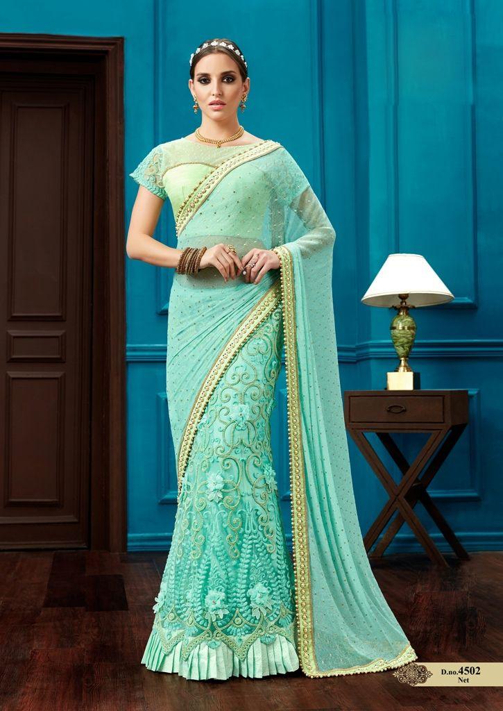 Buy Aqua green knitted net wedding lehenga saree in UK, USA and ...