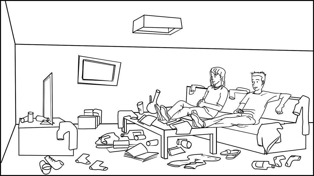 The Guys Minding Their Own Business Watching Tv In Their Apartment Living Room Storyboards By Storyboard Artist Cuong Drawings Storyboard Storyboard Drawing Living room drawing with tv