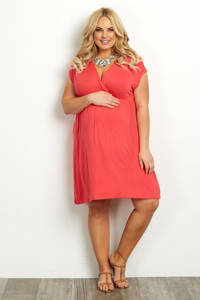 coral short sleeve plus maternity/nursing dress | coral shorts and