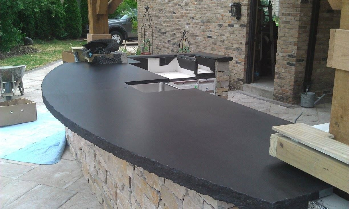 Outdoor Kitchen Install Using Absolute Black Granite