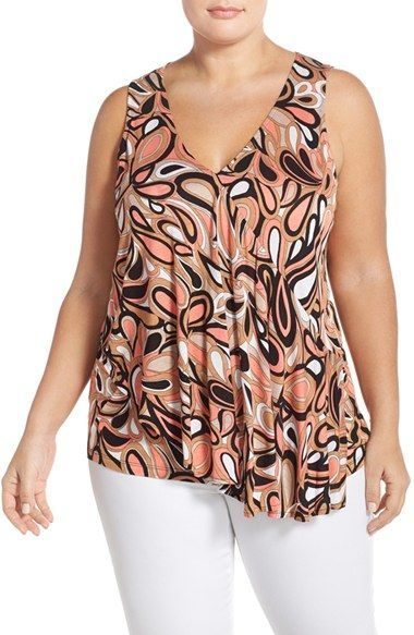 023ccba340d1a MICHAEL Michael Kors  Calabasas  Print Sleeveless Flounce Top (Plus Size)