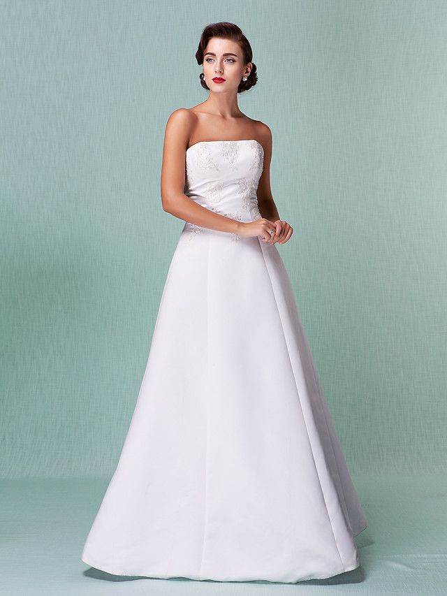 A-Line Strapless Floor Length Satin Wedding Dress with Lace by LAN ...