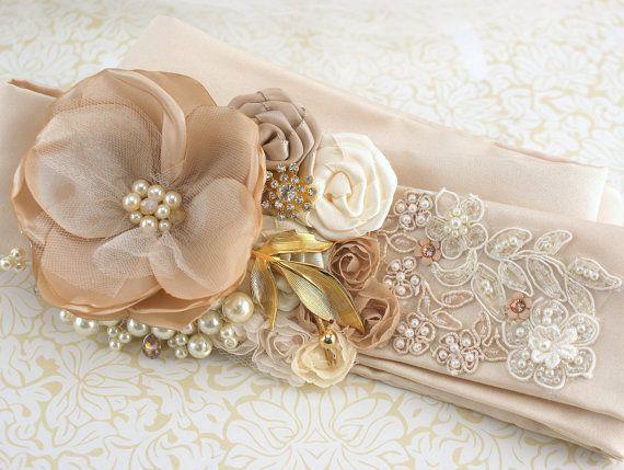 Bridal Sash Wedding Sash in Champagne Latte Nude Ivory by SolBijou, $195.00