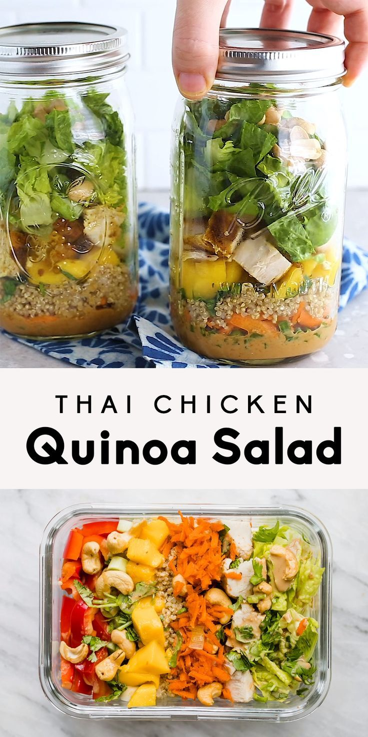 Thai Chicken Quinoa Salad with Peanut Dressing | A