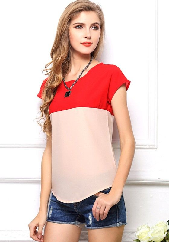 Bright Red-Beige Color Block Sweet Short Sleeve Chiffon Blouse ...