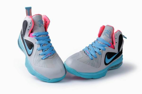 check out ded24 b1e16 Womens Nike Lebron James 9 Grey Blue Pink