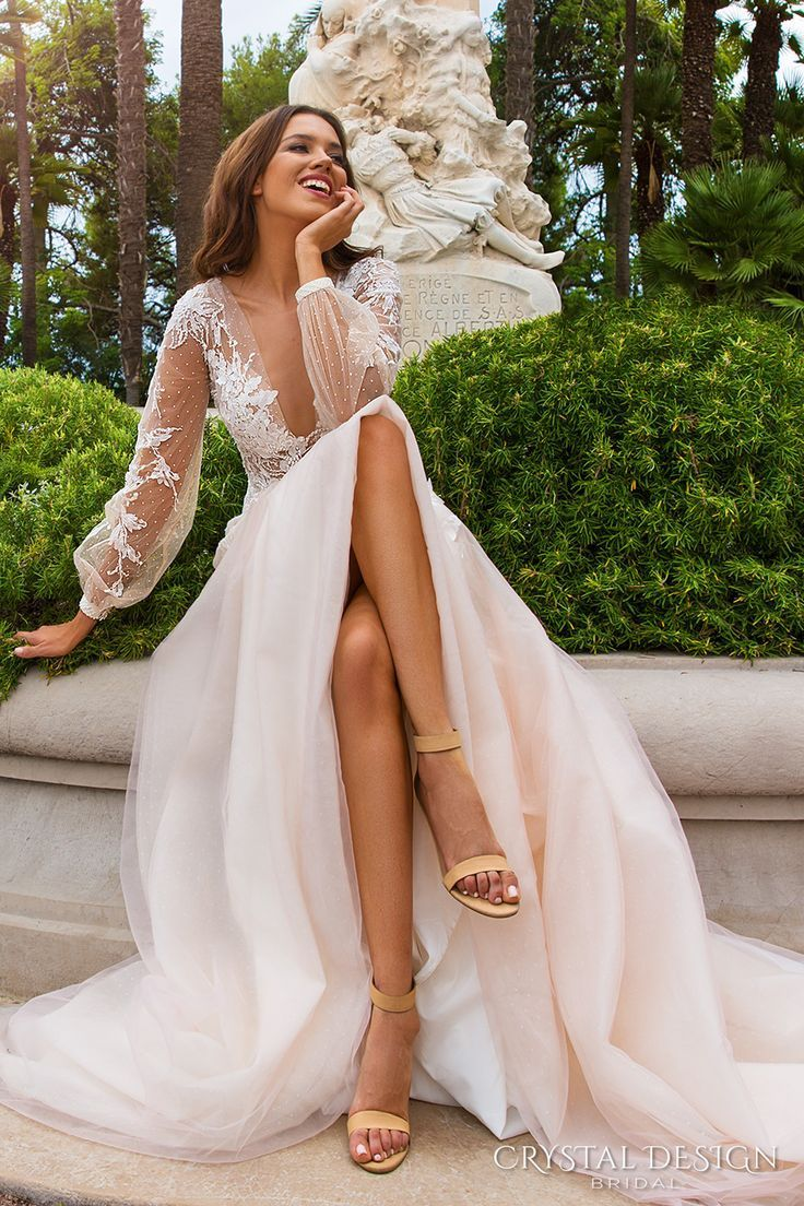 Love crystal design bridal long sleeves cuff bishop deep v