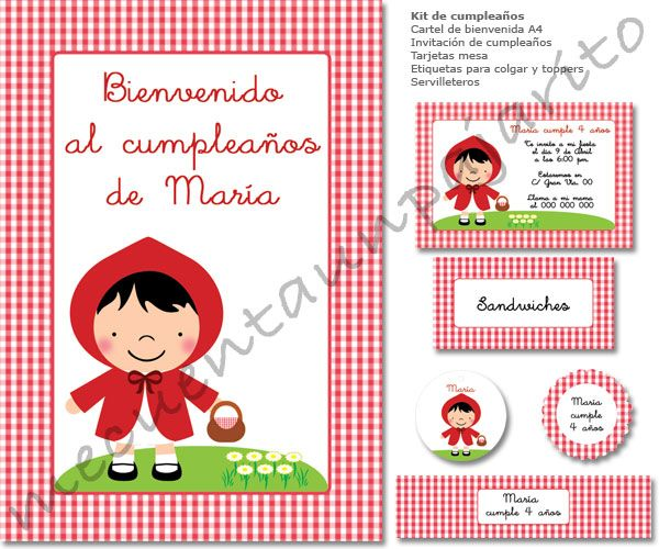 Kit De Cumpleaños De Caperucita Roja Invitaciones Tarjetas