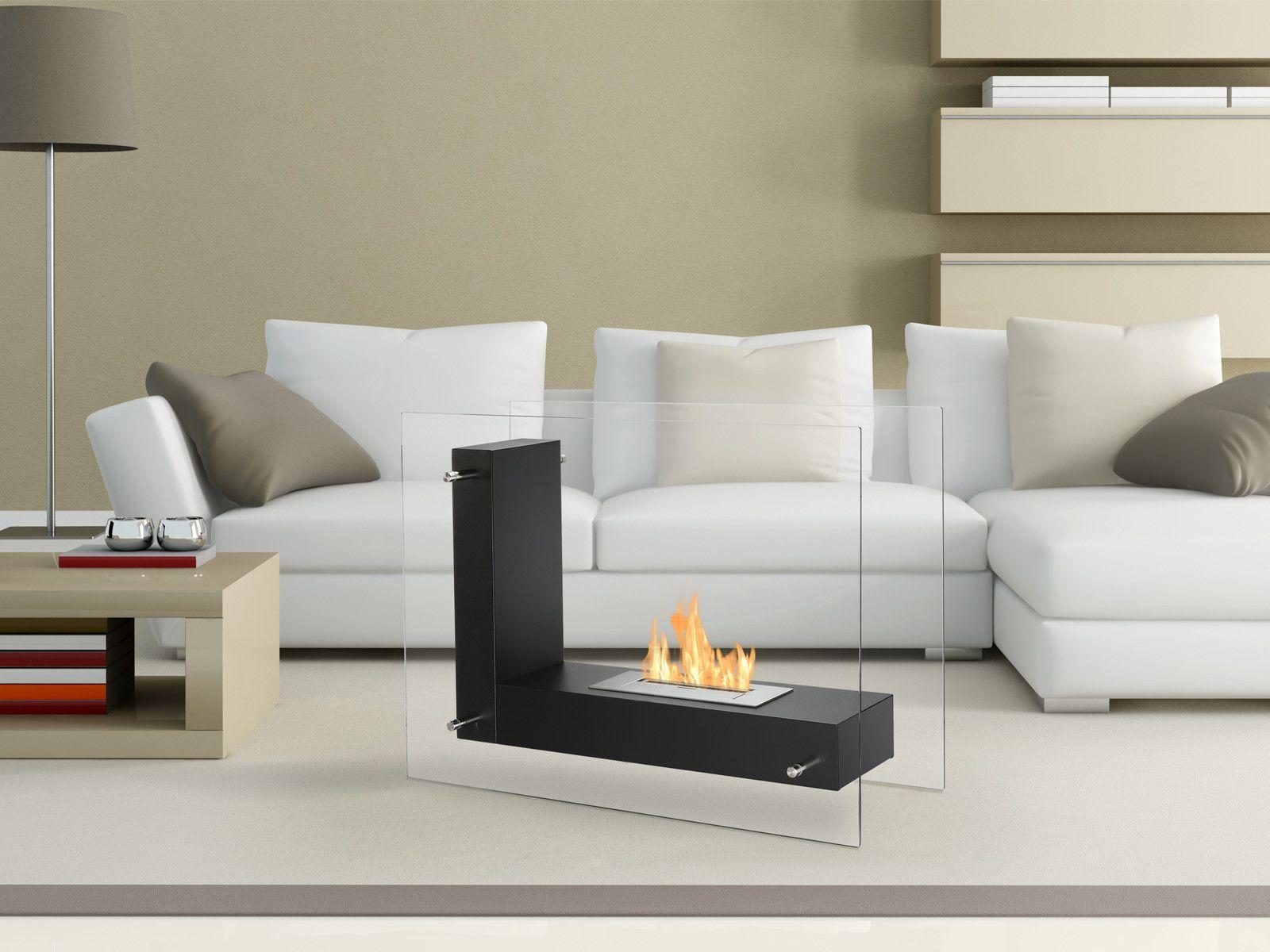 Ignis Vitrum L Black 32 Free Standing Ethanol Fireplace In
