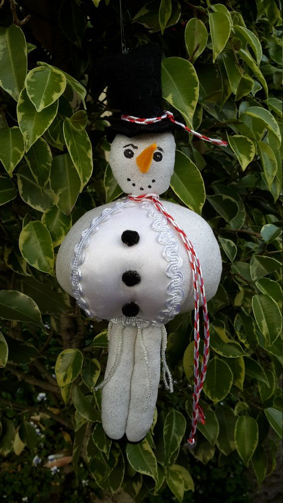 SNOWMAN, a JOYFUL JOLLY in Whites, Hanging Christmas Ornament Doll ...
