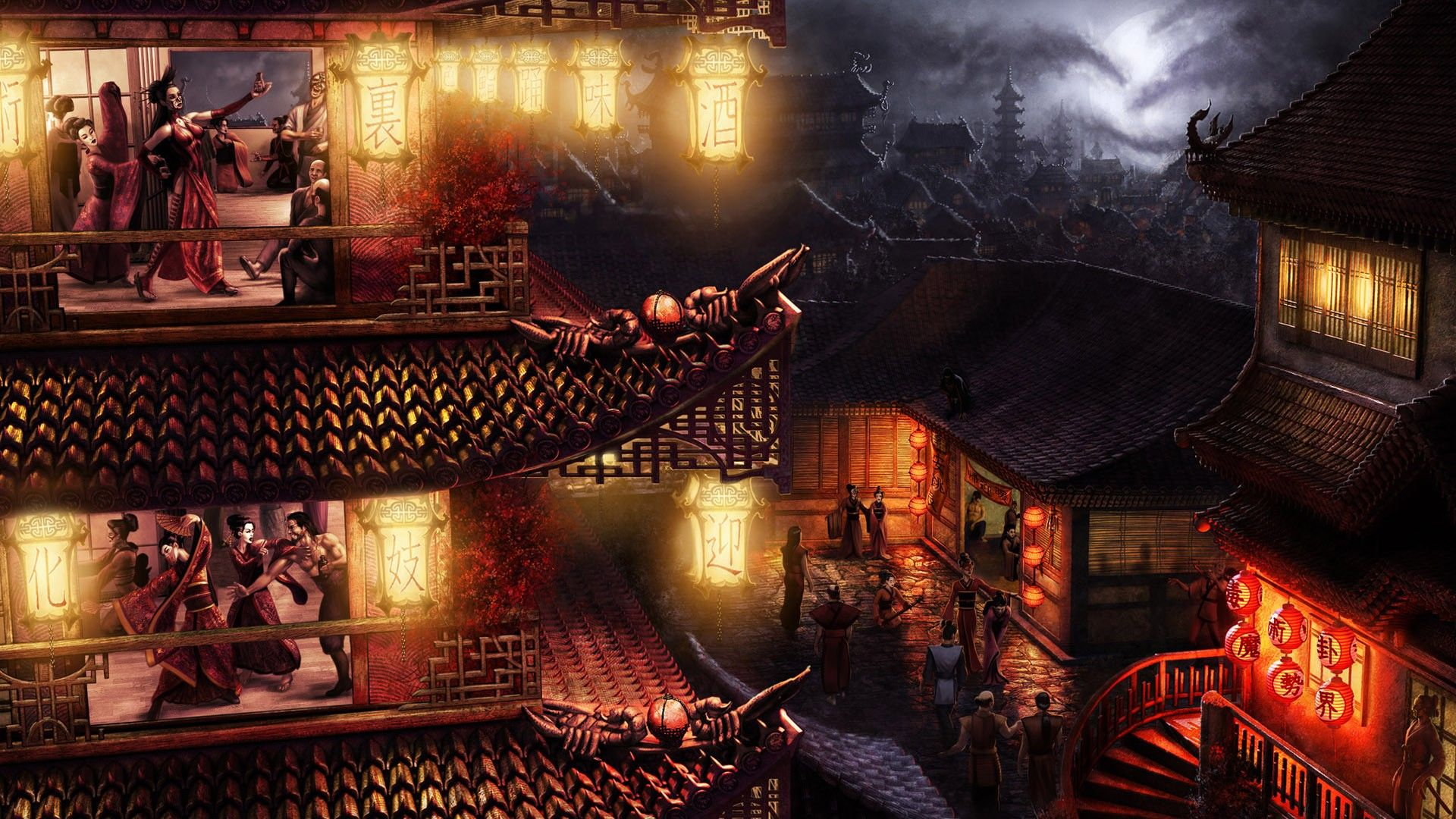 Ancient Japanese Cities Painted Wallpaper Ancient Japanese City 1920x1080 Wallpapers 3d For Okno Noch Fentezi
