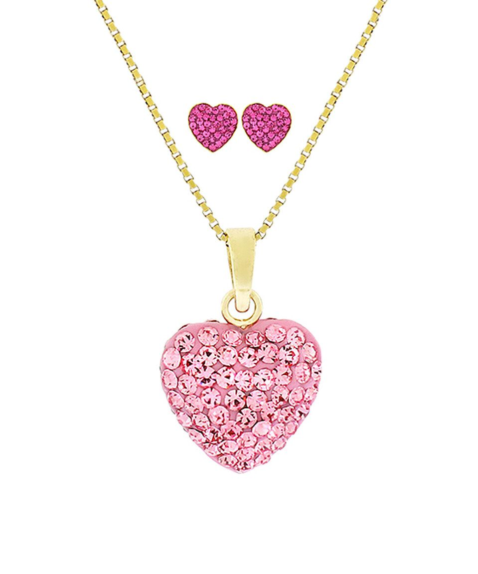 Loving this pink heart pendant necklace set with crystals from