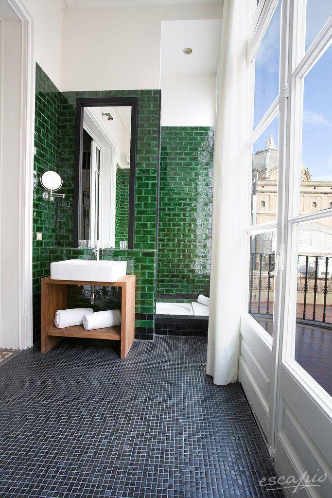 Simply Beautiful Bathrooms: Cool Emerald Tiles In The Hotel Praktik Rambla, Barcelona
