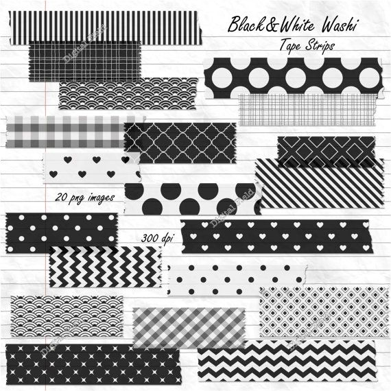 Digital Washi Tape Strips Black And White Printable Digital Etsy In 2021 Washi Tape Black And White Stickers Washi