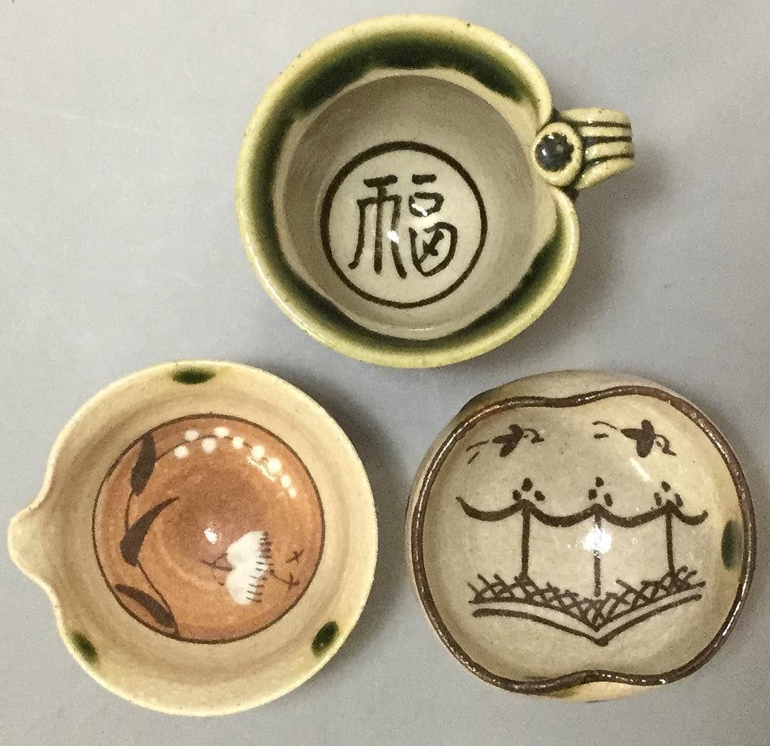 Oribe cups by Tanaka Motohiko  #pottery #japanesepottery #ceramics #japaneseceramics #guinomi #handmadepottery #sakecup #sake