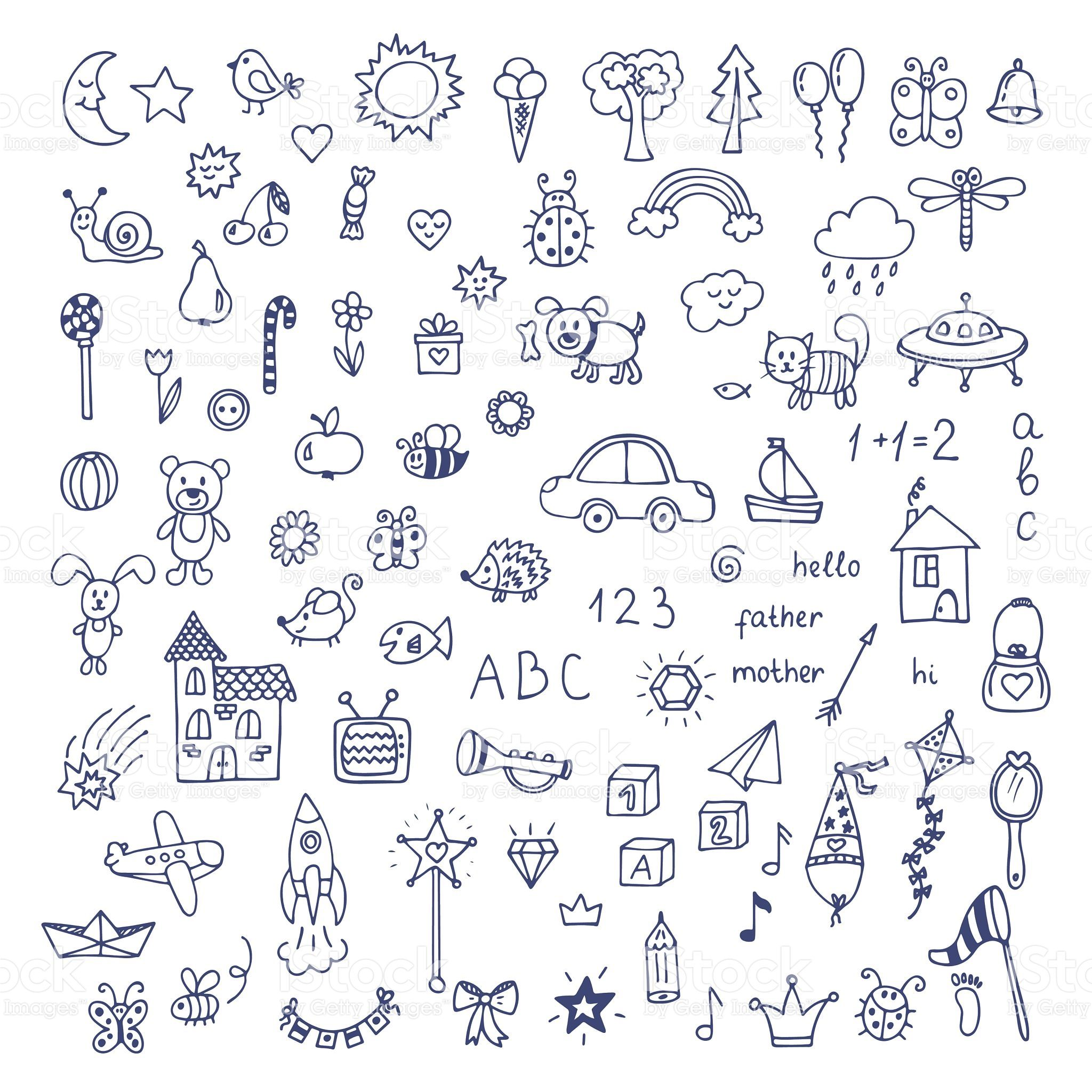 Set Of Hand Drawn Cute Doodles Doodle Children Drawing Hand