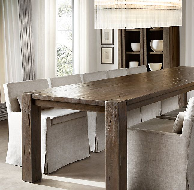 Rh S Reclaimed Russian Oak Parsons Rectangular Dining Table Handcrafted Of Solid Reclaimed Whit Dining Table