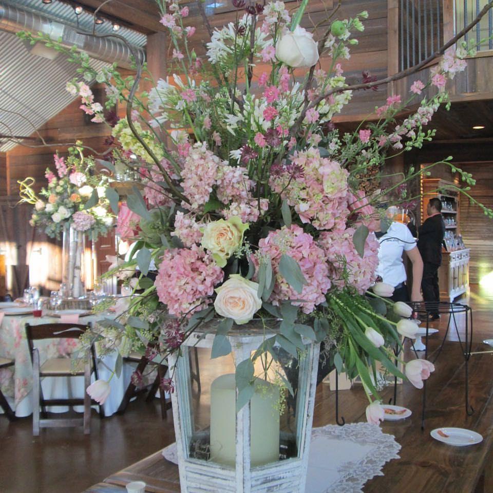 Lantern Spring Floral Arrangement For Wedding Reception At