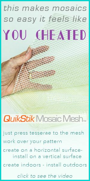 Watch how to mosaic on this self-adhesive fiberglass mesh  which is the perfect substrate for architectural installations. You don't apply glue or thinset to your tesserae and you don't have to use a plastic wrap between your pattern and mesh. Just press the tesserae on the mesh and install it. Work over a pattern, save a lot of time, and some cost. Work horizontally - even indoors. Easy to transport your large project.