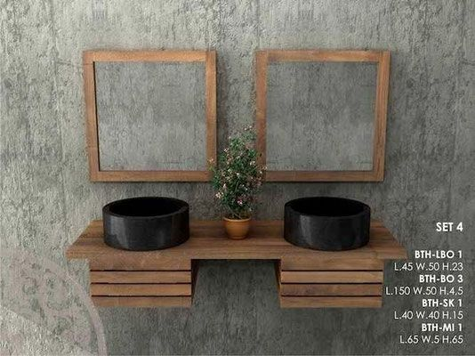 Mobili bagno in legno massello lavandini pietra e marmo