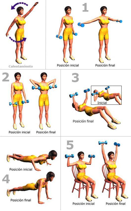 Rutina sencilla de ejercicios para adelgazar y tonificar brazos for Brazos para toldos llaza