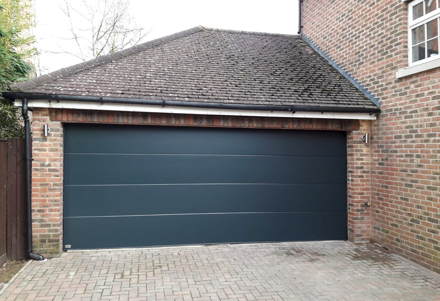 Sws Double Elite Automated Sectional Garage Door Finished In Anthracite Grey In 2020 Sectional Garage Doors Garage Doors Doors