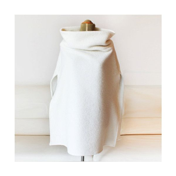 White Wool Poncho Ivory Wool Cape Stand Collar Jacket (€76 ...