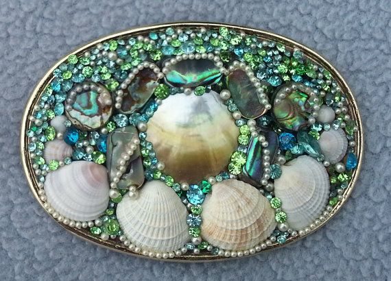 belt buckle made with shell and vintage jewelry
