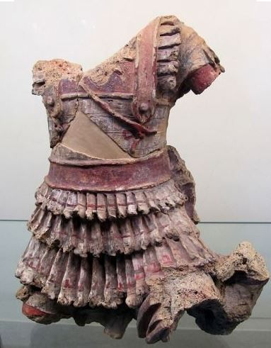Etruscan cuirass, terracotta figure of a warrior with traces of paint. Museo Gregoriano Etrusco