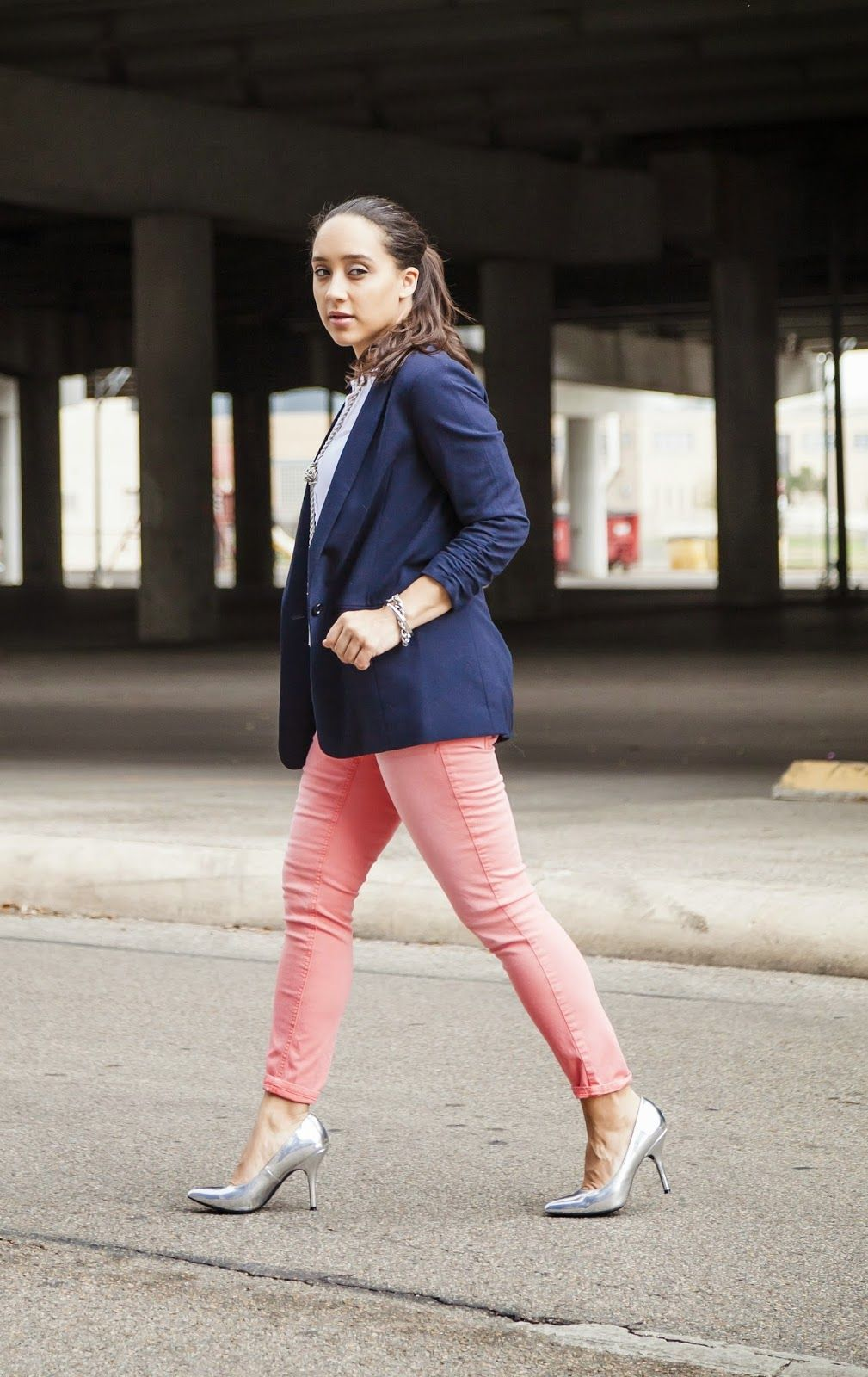 Diary of a Southern Shopper: Pink Jeans @Express / Navy Blazer / Silver Heels @Target