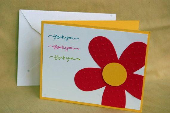 Triple Thank You Die Cut Flower Card Stampin' Up by ScrapGirl911