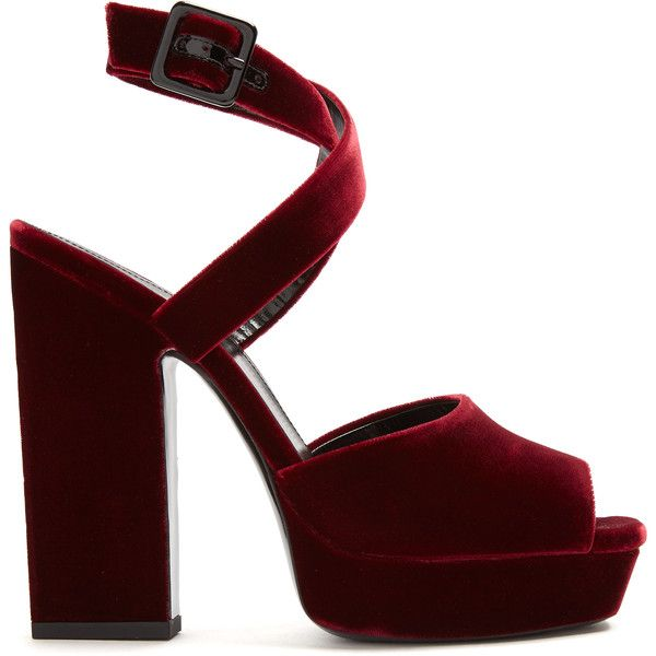 5adae3473f5 Saint Laurent Debbie platform-heel velvet sandals ($900) ❤ liked on  Polyvore featuring shoes, sandals, heels, burgundy, strappy heeled sandals,  platform ...