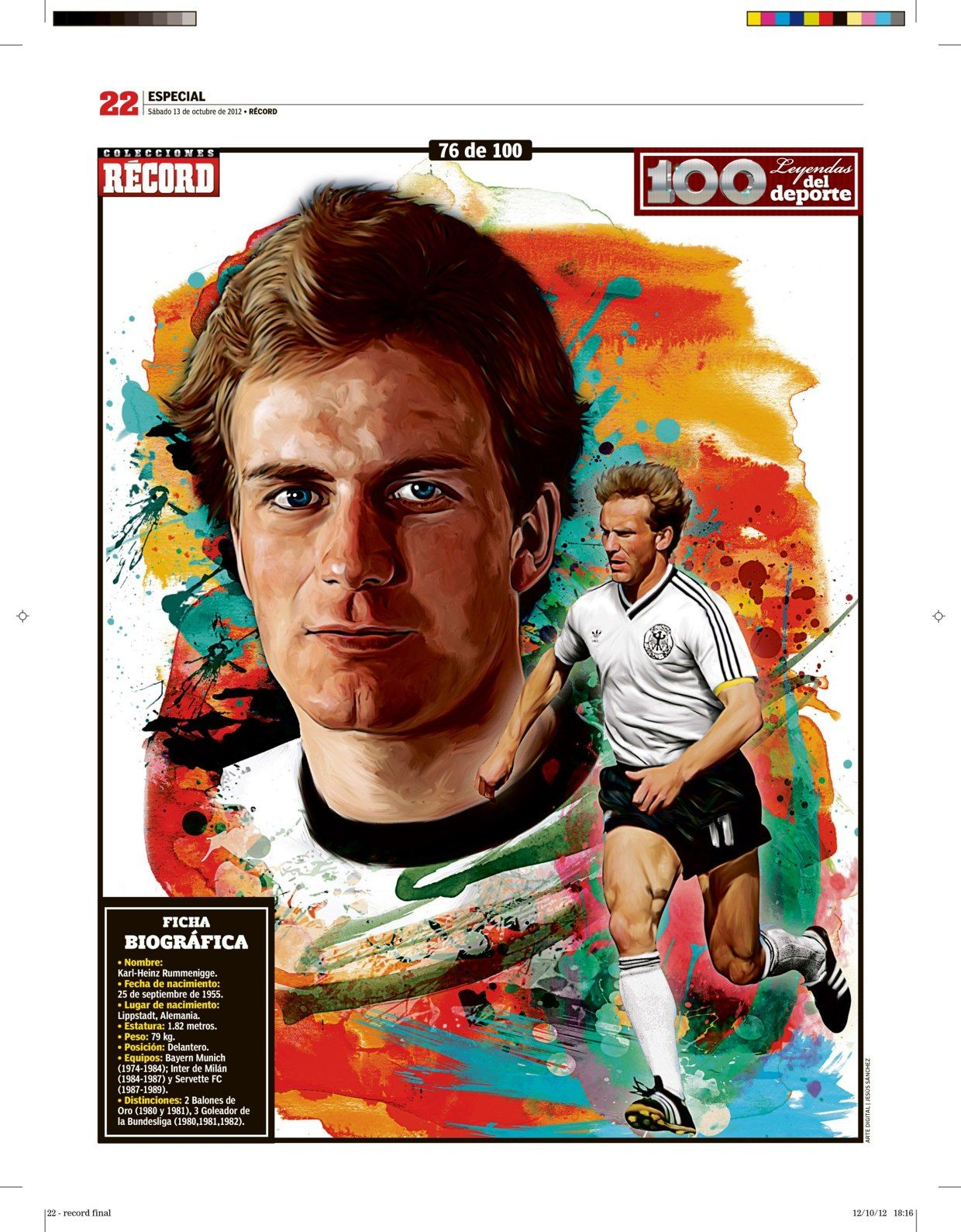 100 Leyendas Del Deporte 100 Sports Legends On Behance Football Karl Heinz Rummenigge Kids Soccer Sports Art