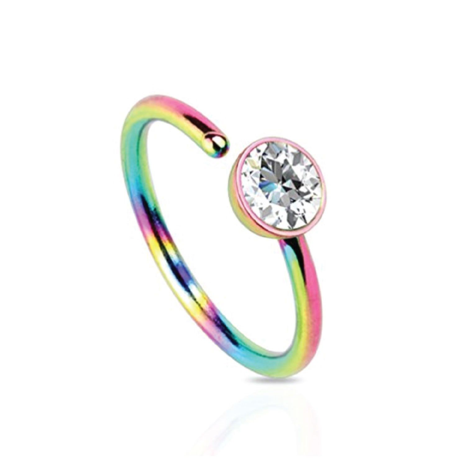 Bodyj4you Nose Ring Hoop Stainless Steel Rainbow Clear Cz Gem 20g