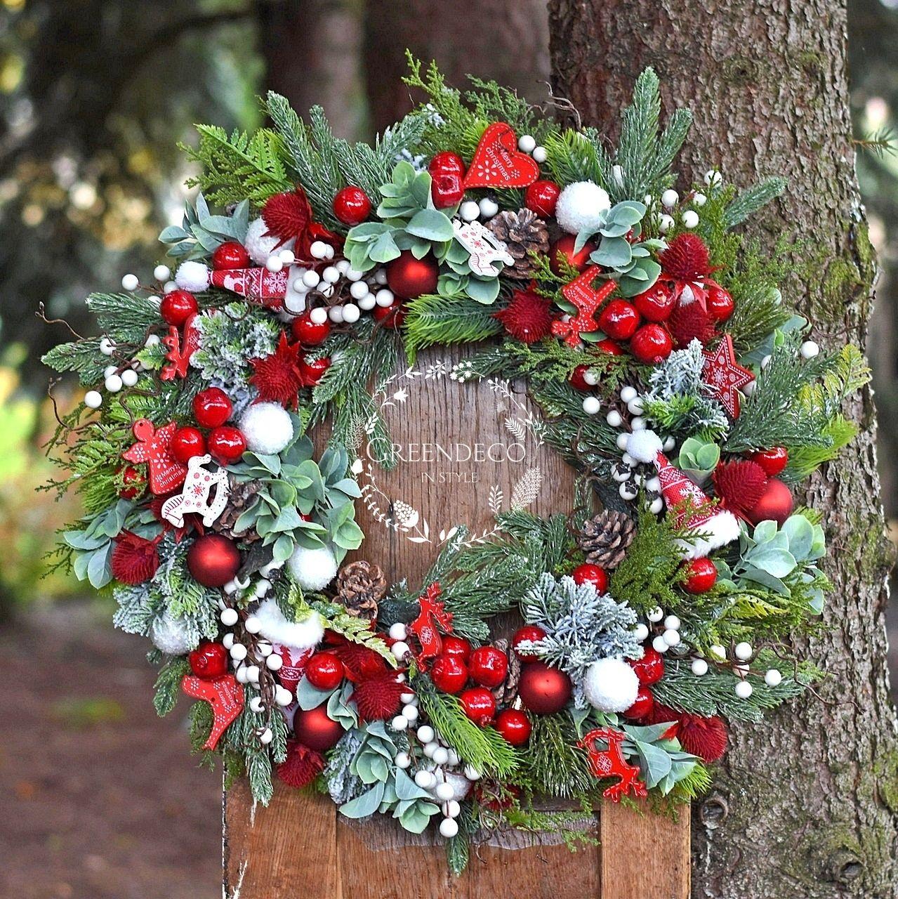Wianek Swiateczny Christmas Wreaths Holiday Decor Flowers