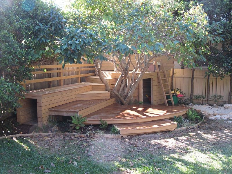 Kids adventure playground garden design treated pine and for Garden design decking areas