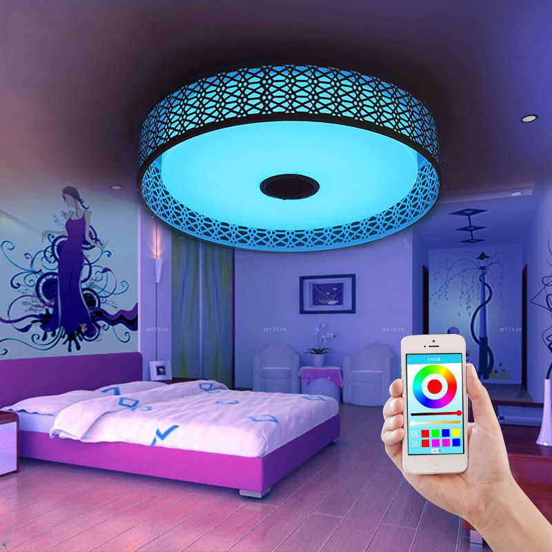 Bluetooth Music Ceiling Lights Intelligent Led App Sitting Room Bedroom Lamp Is Acted The Role Of Colorful Color Bedroom Lamps Ceiling Lights Kids Ceiling Fans