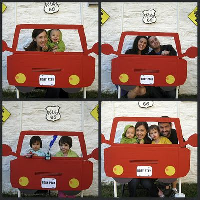 Car cut-out for birthday party photo-booth pictures! This site has lots of great transportation party ideas.