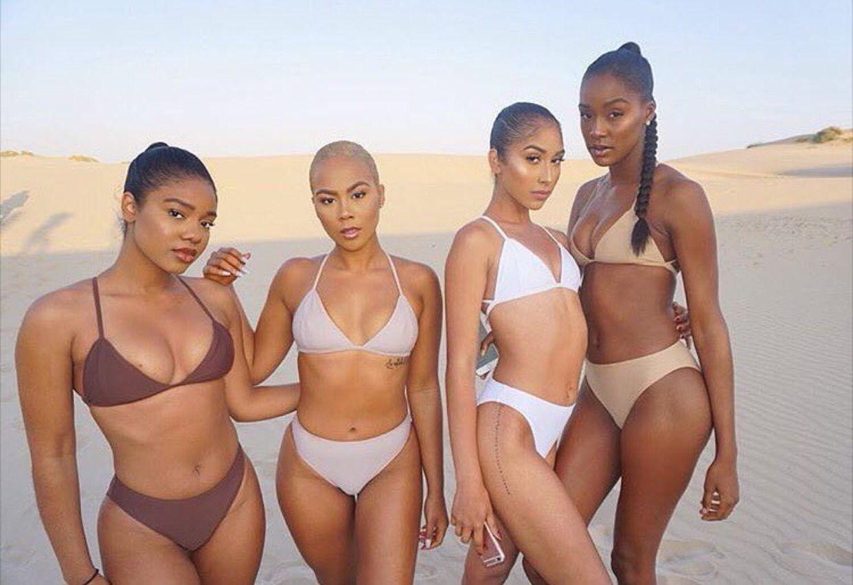 Yet light skinned girl in bikini firmly convinced