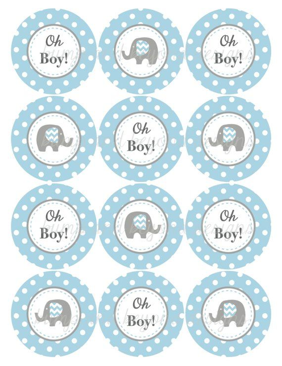 picture relating to Printable Baby Shower Favor Tags called Youngster Shower Decorations Oh Boy! Elephant Printable Tags