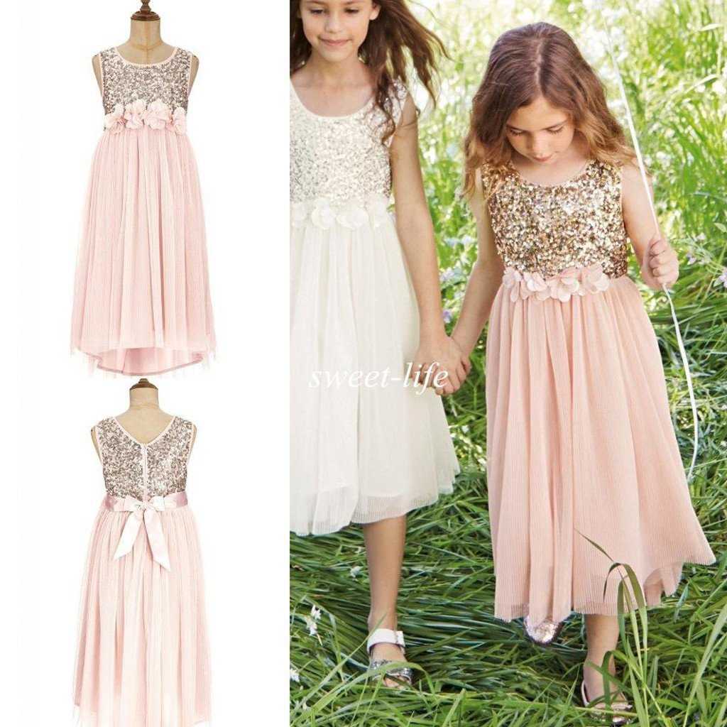 Sweet Sequin Top Tulle Appliques Long Flower Girl Dresses With Bow ...