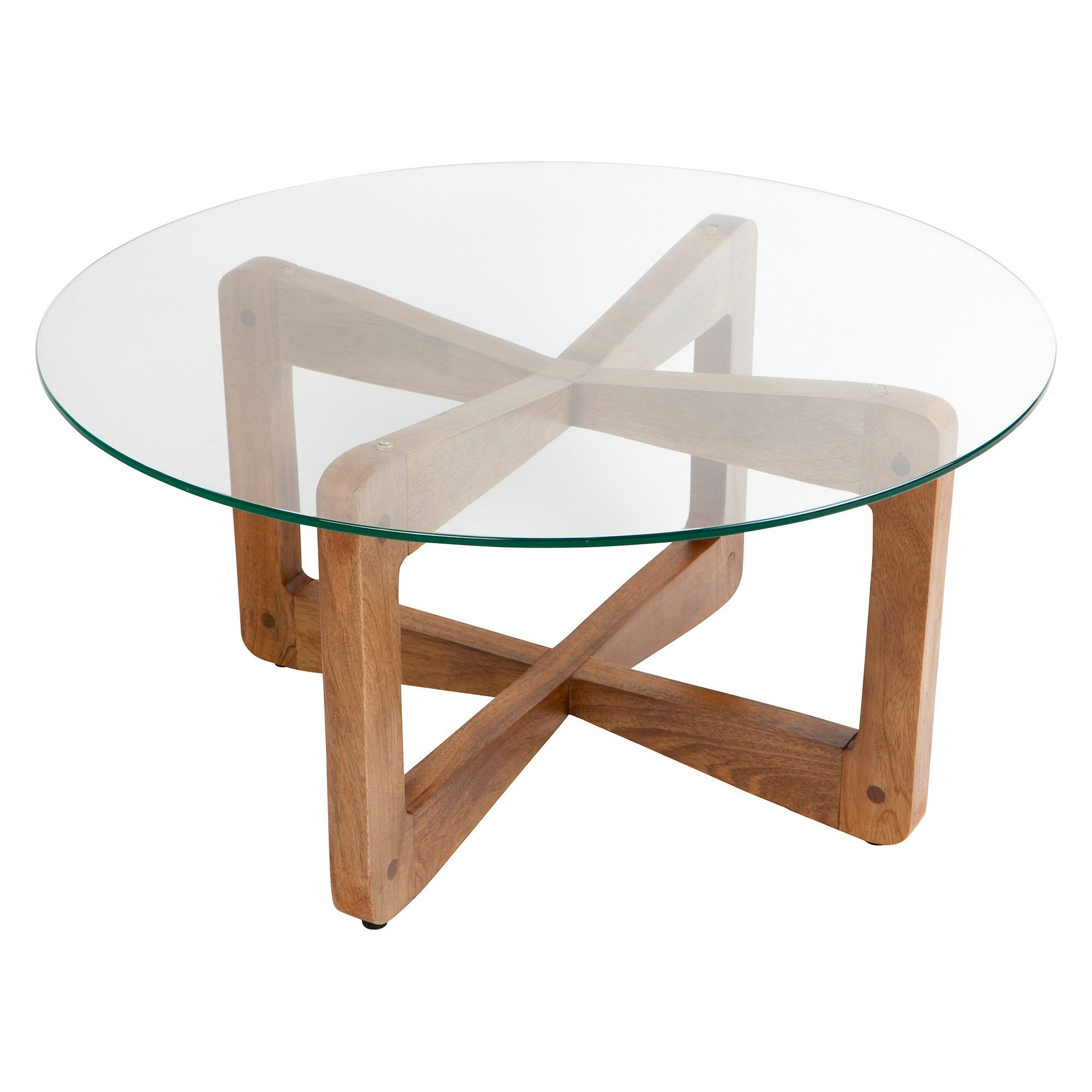 Lisbon Glass Teak Timber Round Coffee Table 80cm Pe De Mesa Redonda Pe De Mesa Mesa Redonda
