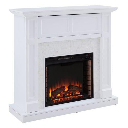Boston Loft Furnishings 45 5 In W White Fan Forced Electric Fireplace Lowes Com In 2020 Fireplace Console Media Fireplace Fireplace