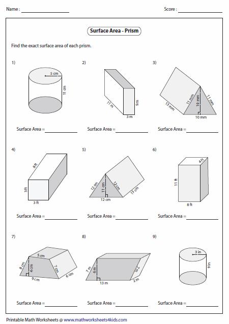 surface area worksheet surface area of prisms level matth pinterest area worksheets. Black Bedroom Furniture Sets. Home Design Ideas
