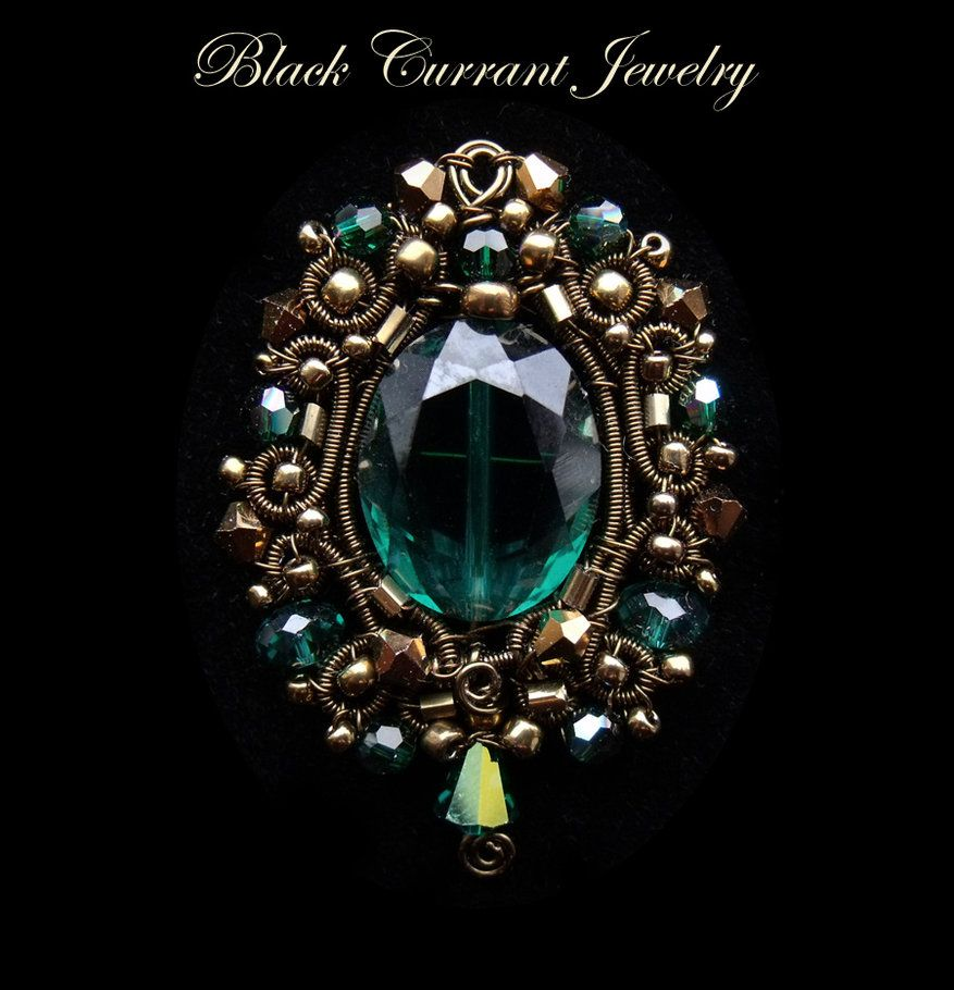 Green Crystal Pendant by blackcurrantjewelry on DeviantArt