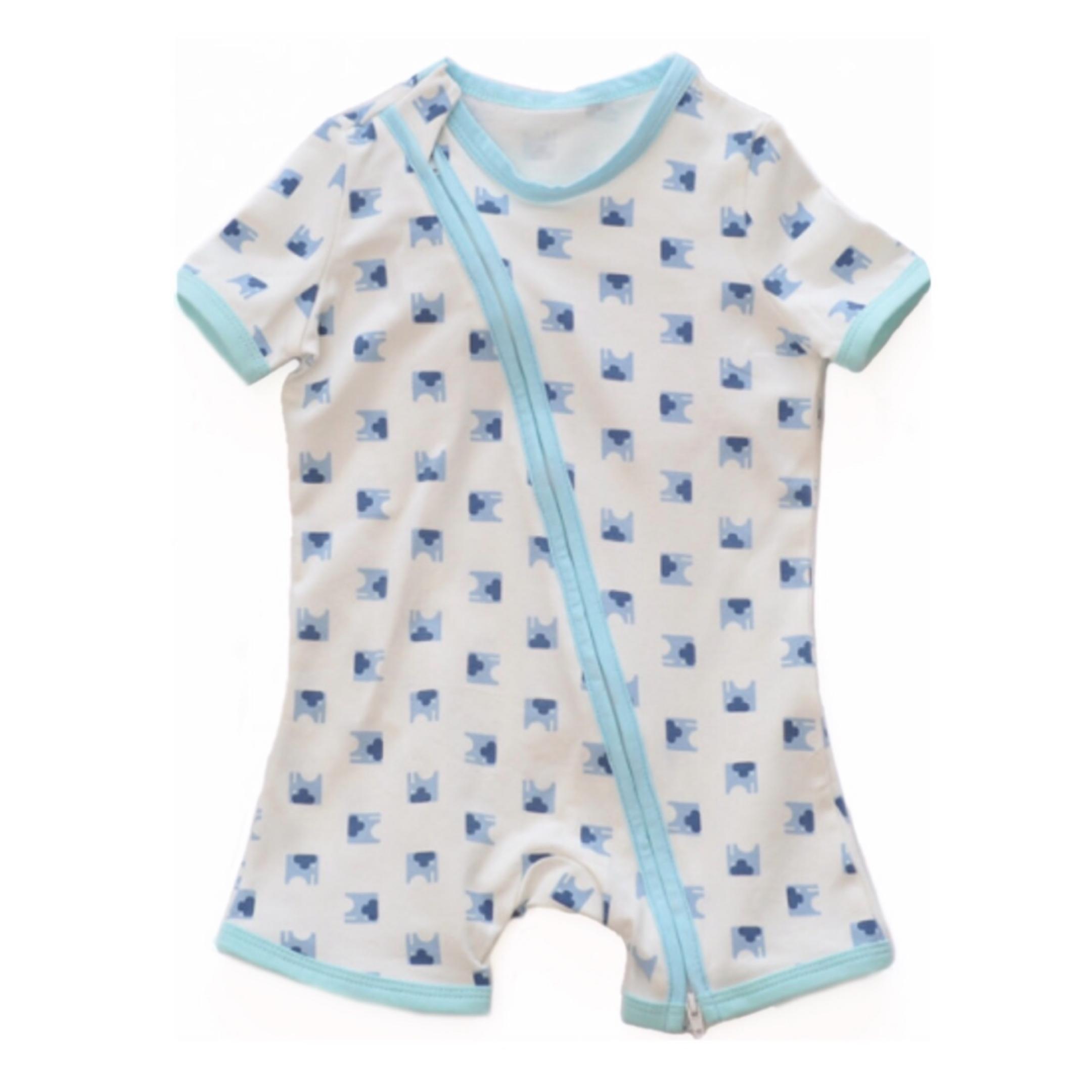 Blue Elephant Short Sleeved Zip Up Babygrow - 6-9M