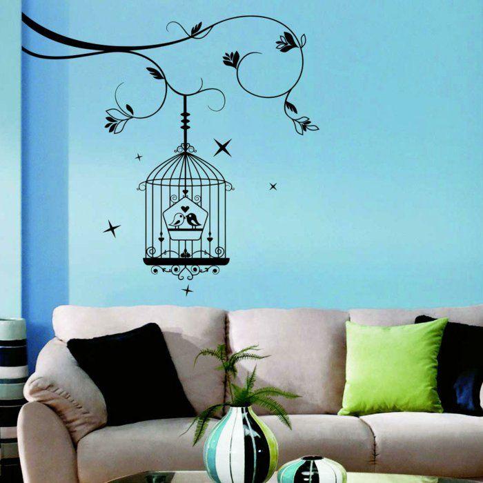 Wohntrends Blaue Wand Beiges Sofa Wandtattoo Good Looking